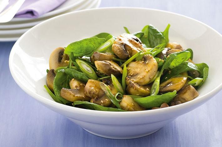 Marinated Mushroom Spinach Salad Australian Mushrooms