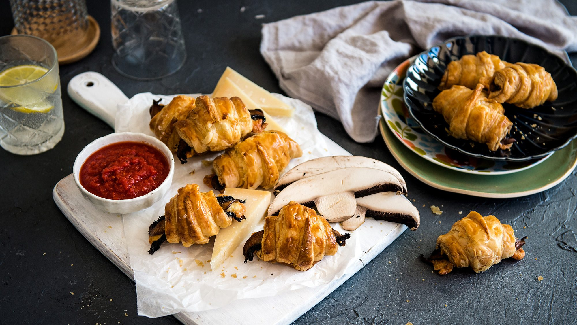 Miguel's One Roll Wonder, Mushroom and Cheese Croissants