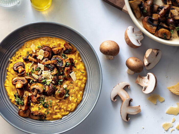Sautéed mushroom and butternut pumpkin risotto