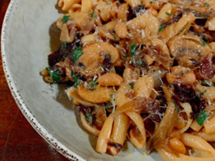 Cavatelli with Braised Mushrooms, Beans and Radicchio