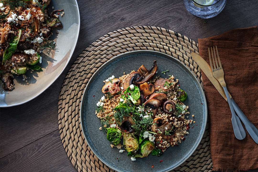 Mushroom, brussel sprout and bulgar wheat salad