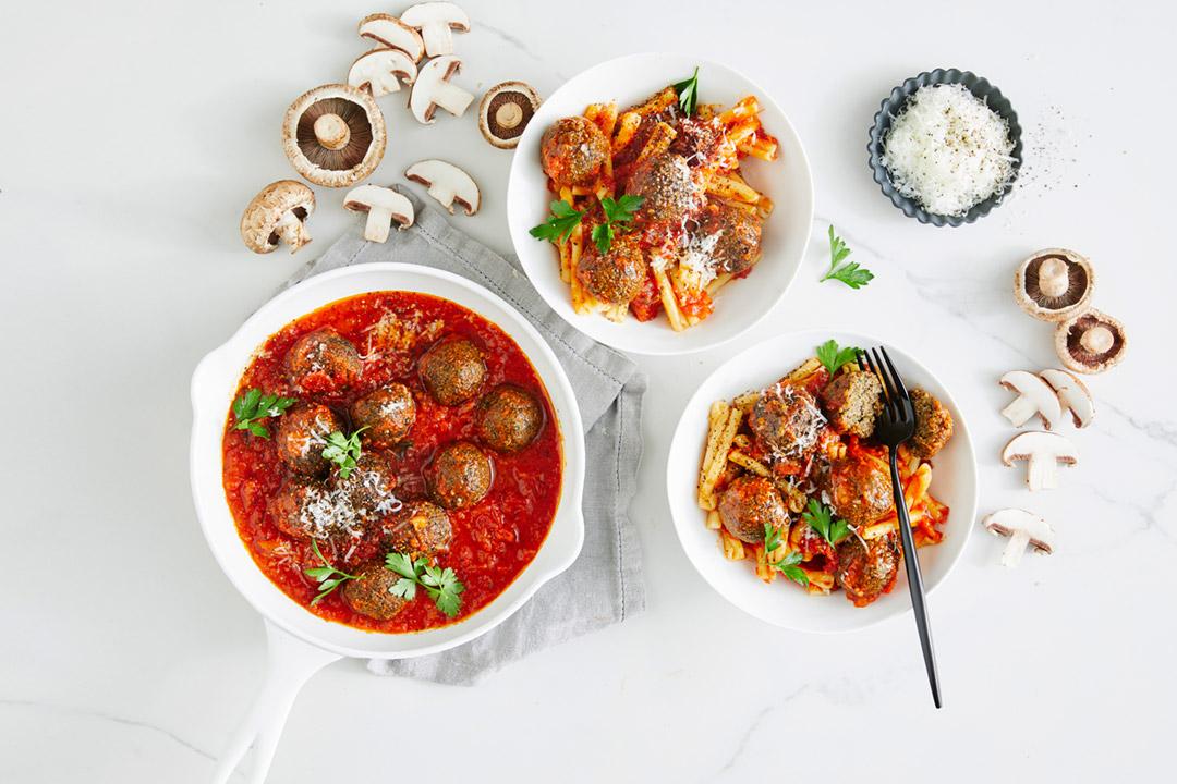 Vegetarian mushroom 'meatballs'
