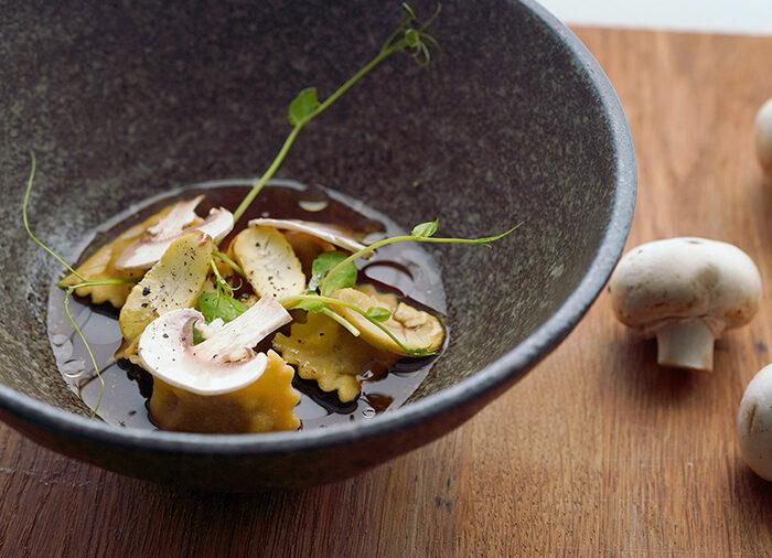Mushroom & Chestnut Agnolotti with Burnt Onion Consommé