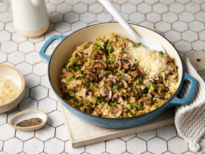 Swiss mushroom, leek, and pea risotto