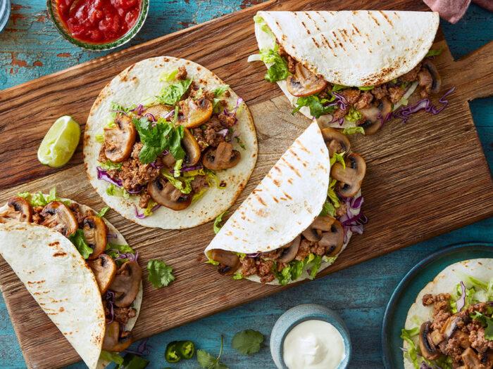 Mushroom and beef taco